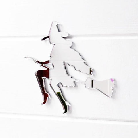 Sexy Witch on Broomstick Acrylic Mirror - Suave Petal