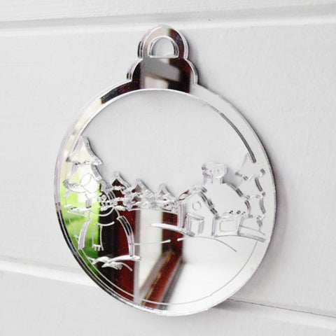 Christmas Village Snow Scene Bauble Acrylic Mirror - Suave Petal