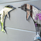 Pair of Opposite/Facing Dolphins in a Dolphin Engraved Acrylic Mirrors - Suave Petal