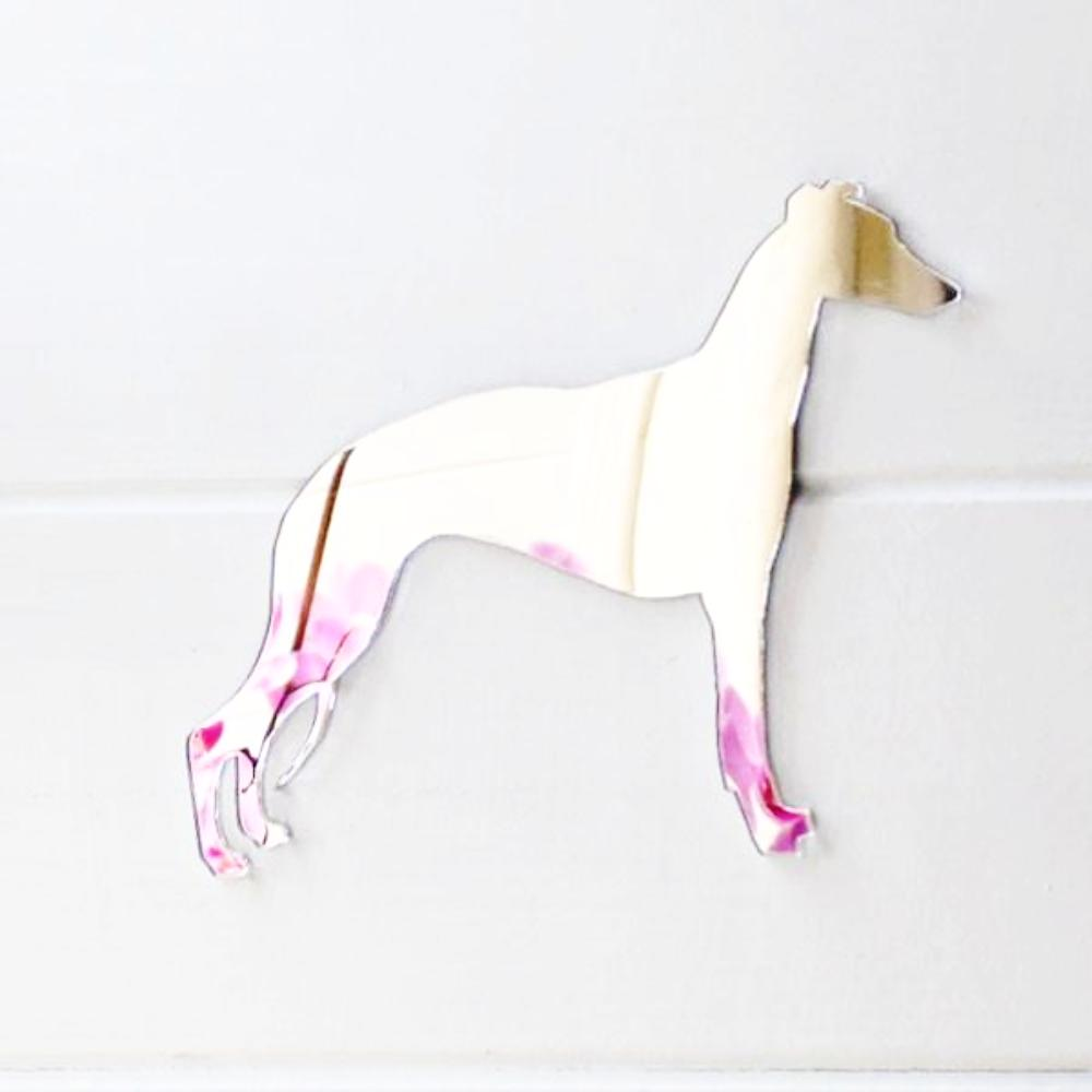Standing Whippet Dog Acrylic Mirror - Suave Petal