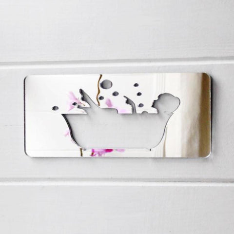 Lady in Bath Tub with Bubbles Acrylic Mirror Sign - Suave Petal