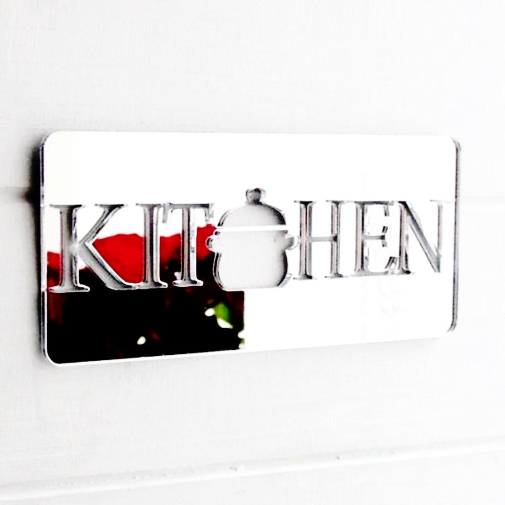 Kitchen Cooking Pot Acrylic Mirrored Door Sign - Suave Petal