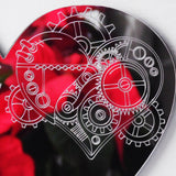 Steampunk Engraved Love Heart Acrylic Mirror - Suave Petal