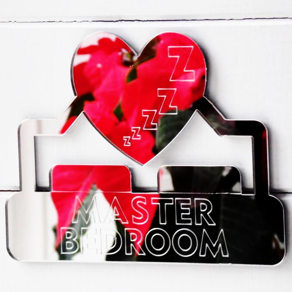 Master Bedroom Heart ZZzzzz Acrylic Mirrored Door Sign - Suave Petal