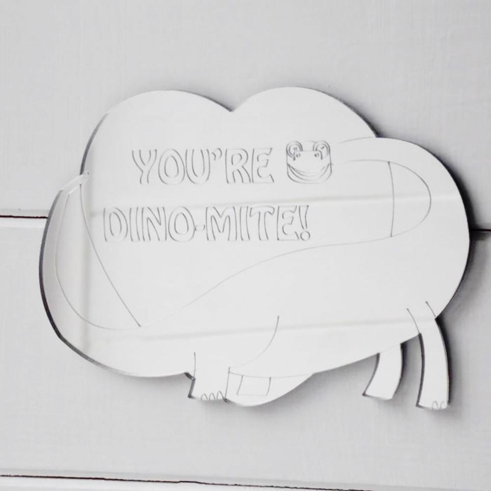 Brachiosaurus Dinosaur & Love Heart - YOU'RE DINO-MITE!  Acrylic Mirror - Suave Petal