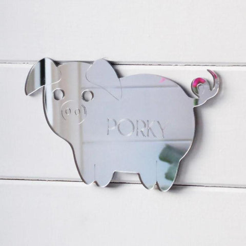 Cute Pig Engraved Acrylic Mirrored Bedroom Door Sign - Suave Petal