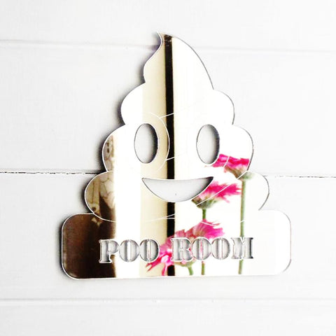 Toilet Poo Room Poop Emoji Acrylic Mirrored Door Sign - Suave Petal