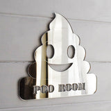 Poo Room Poop Emoji Toilet Acrylic Mirrored Door Sign - Suave Petal