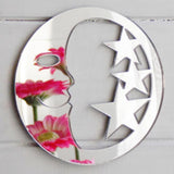 Circle Moon and Stars Acrylic Mirror - Suave Petal