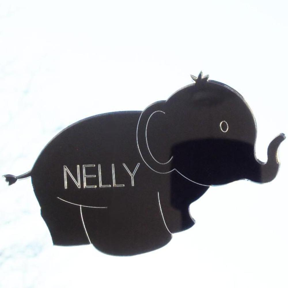 Cute Elephant Engraved Acrylic Mirrored Bedroom Door Sign - Suave Petal