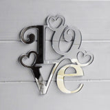 Square Love Text Word With Hearts Acrylic Mirror - Suave Petal