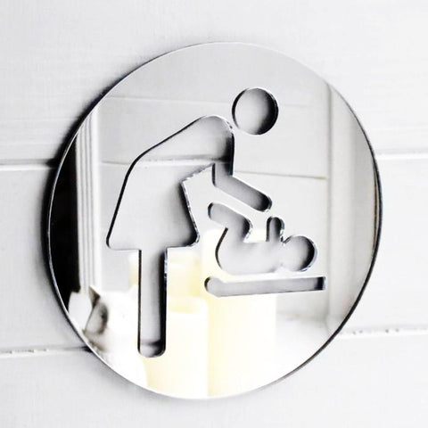 Mother & Baby Changing Room Circle Acrylic Mirrored Door Sign - Suave Petal