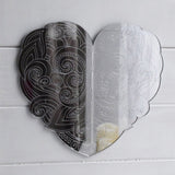 Swirl and Dot Engraved Love Heart Acrylic Mirror - Suave Petal