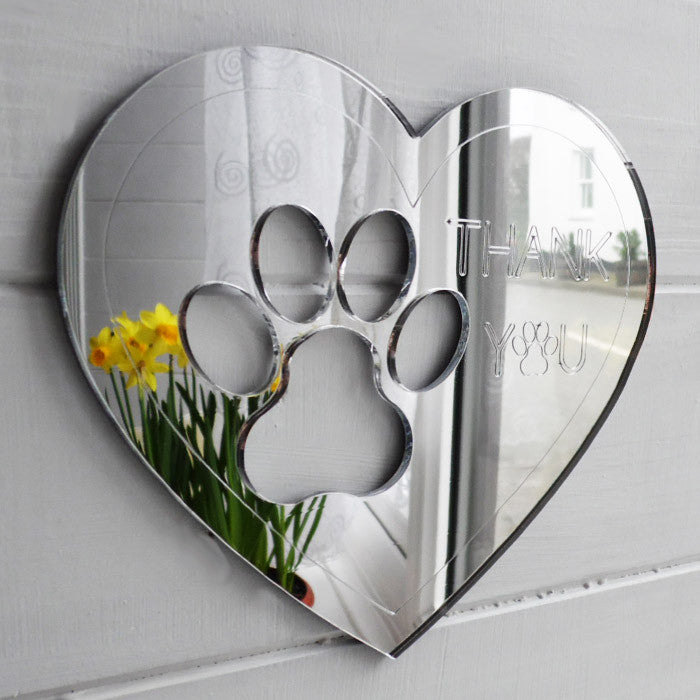 Paw Print Heart with Personlised Message Acrylic Engraved Mirror - Suave Petal