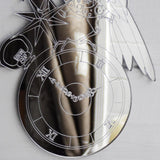 Steampunk Engraved Raven & Pocket Watch Acrylic Mirror - Suave Petal