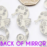 Seahorse Pattern Engraved Mini Craft Sized Acrylic Mirrors (10Pk) - Suave Petal