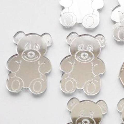 Sitting Teddy Bear Mini Craft Sized Acrylic Mirrors (10Pk) - Suave Petal