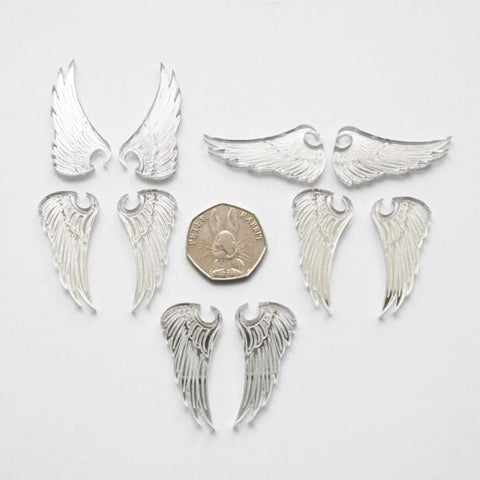 5 Pairs of Angel Wings Mini Craft Sized Acrylic Mirrors (10Pk) - Suave Petal