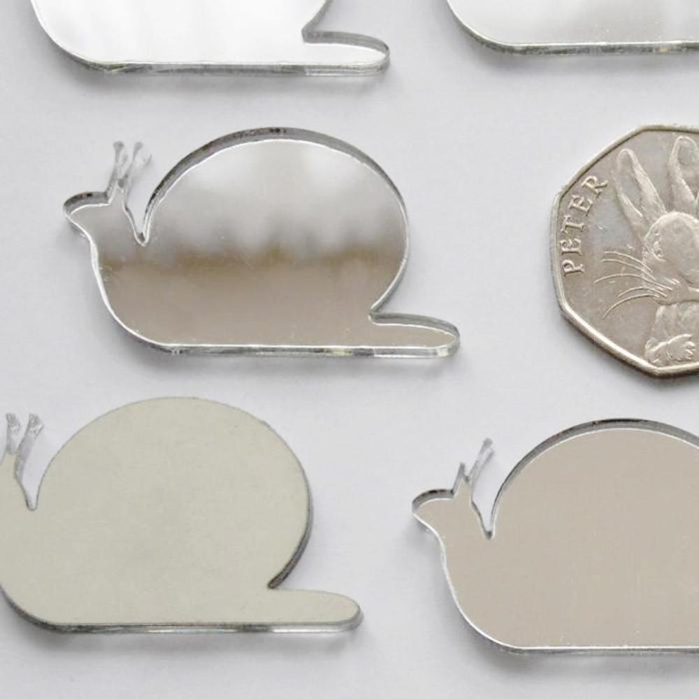 Snail Mini Craft Sized Acrylic Mirrors (10Pk) - Suave Petal