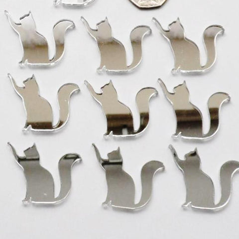 Reaching Cat Mini Craft Sized Acrylic Mirrors (10Pk) - Suave Petal