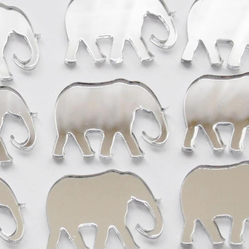 Elephant Mini Craft Sized Acrylic Mirrors (10Pk) - Suave Petal