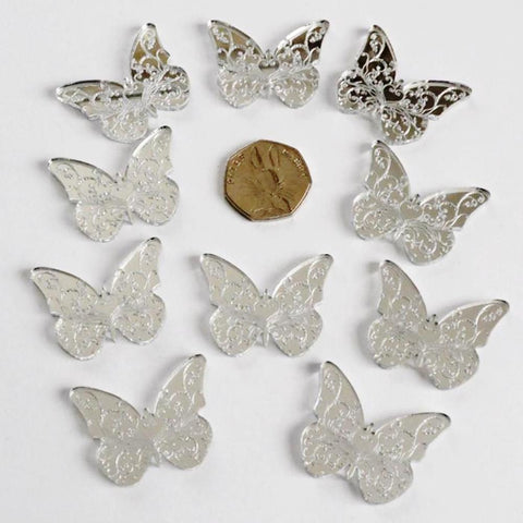 Floral Butterfly Mini Craft Sized Acrylic Mirrors (10Pk) - Suave Petal