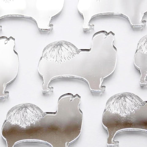 Tibetan Spaniel Dog Mini Craft Sized Acrylic Mirrors (10Pk) - Suave Petal