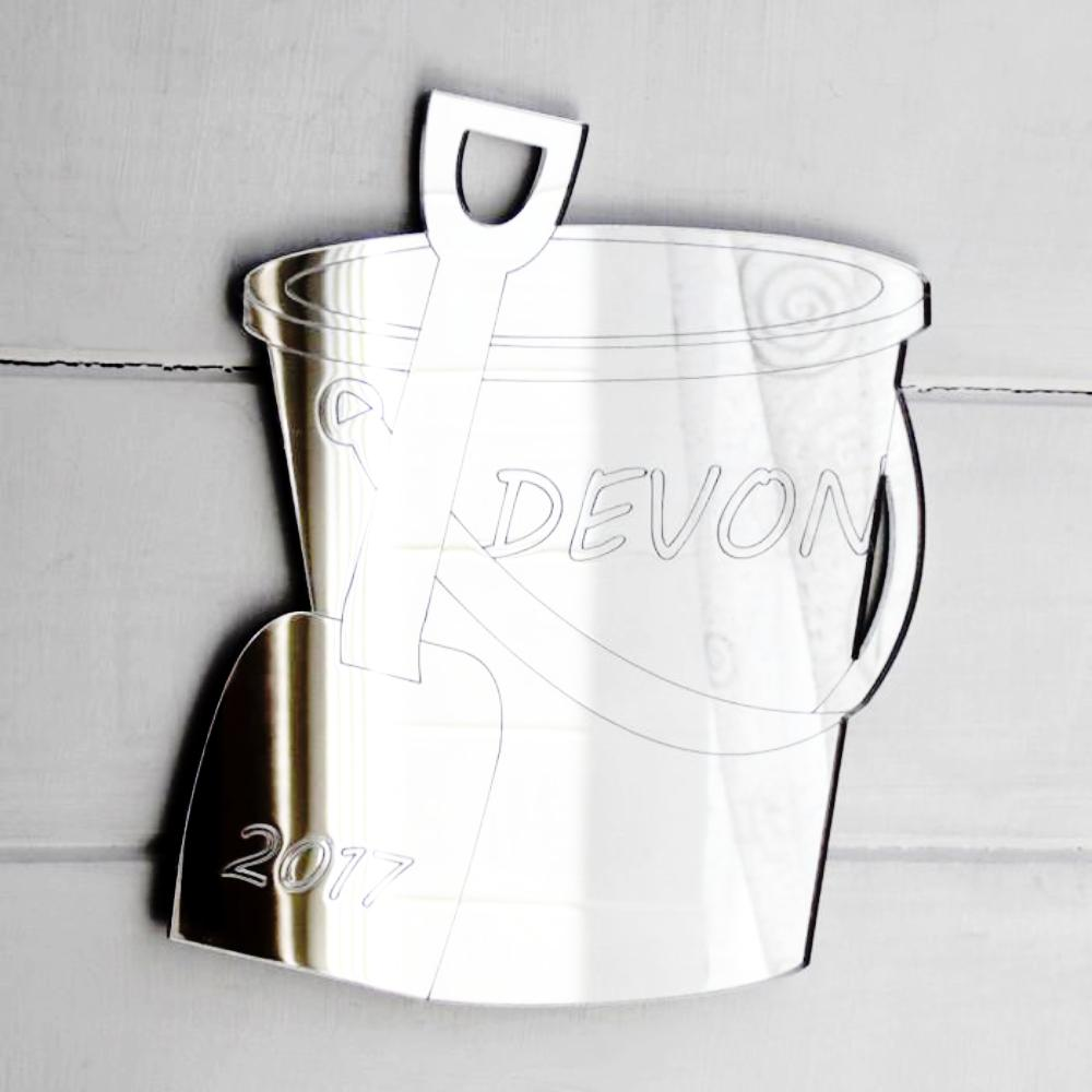 Seaside Beach Personalized Engraved Bucket & Spade Acrylic Mirror - Suave Petal