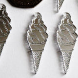Seaside Beach Ice Cream Waffle Cone Mini Craft Sized Acrylic Mirrors (10Pk) - Suave Petal