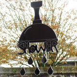 Funky Shower Head & Droplets Acrylic Mirrored Door Sign - Suave Petal