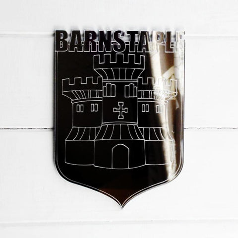 Barnstaple (UK) Castle Coat of Arms Shield Acrylic Mirror - Suave Petal