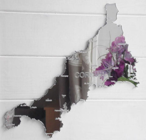 County Map of CORNWALL UK Engraved Acrylic Mirror - Suave Petal