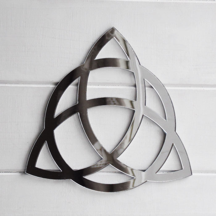 Triquetra with Circle / Celtic Trinity Knot Symbol Acrylic Mirror Sign - Suave Petal