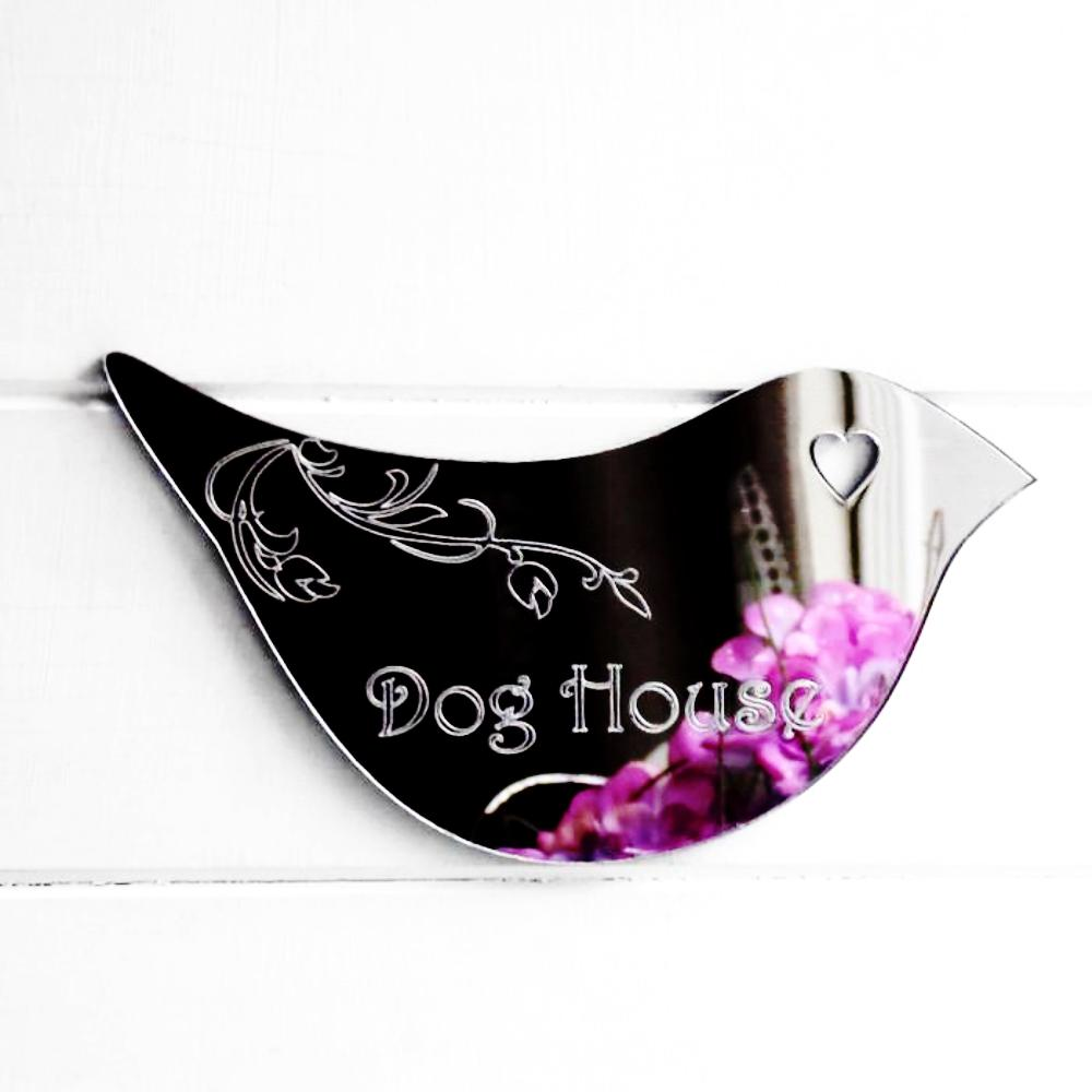 Floral Dove Acrylic Mirror Door or Wall Sign - DOG HOUSE - Suave Petal