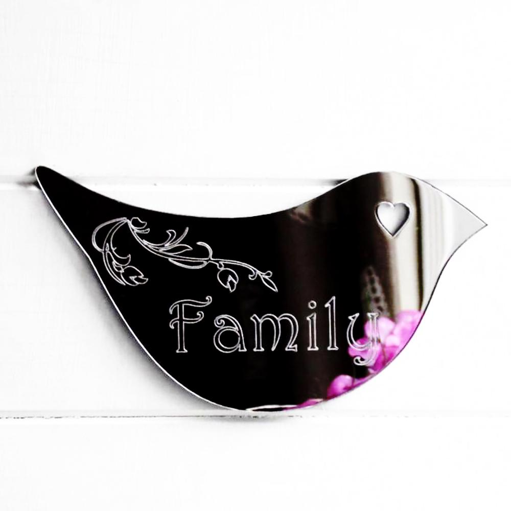 Floral Dove Acrylic Mirror Door or Wall Sign - FAMILY - Suave Petal