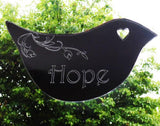 Floral Dove Acrylic Mirror Door or Wall Sign - HOPE - Suave Petal