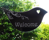 Floral Dove Acrylic Mirror Door or Wall Sign - WELCOME - Suave Petal