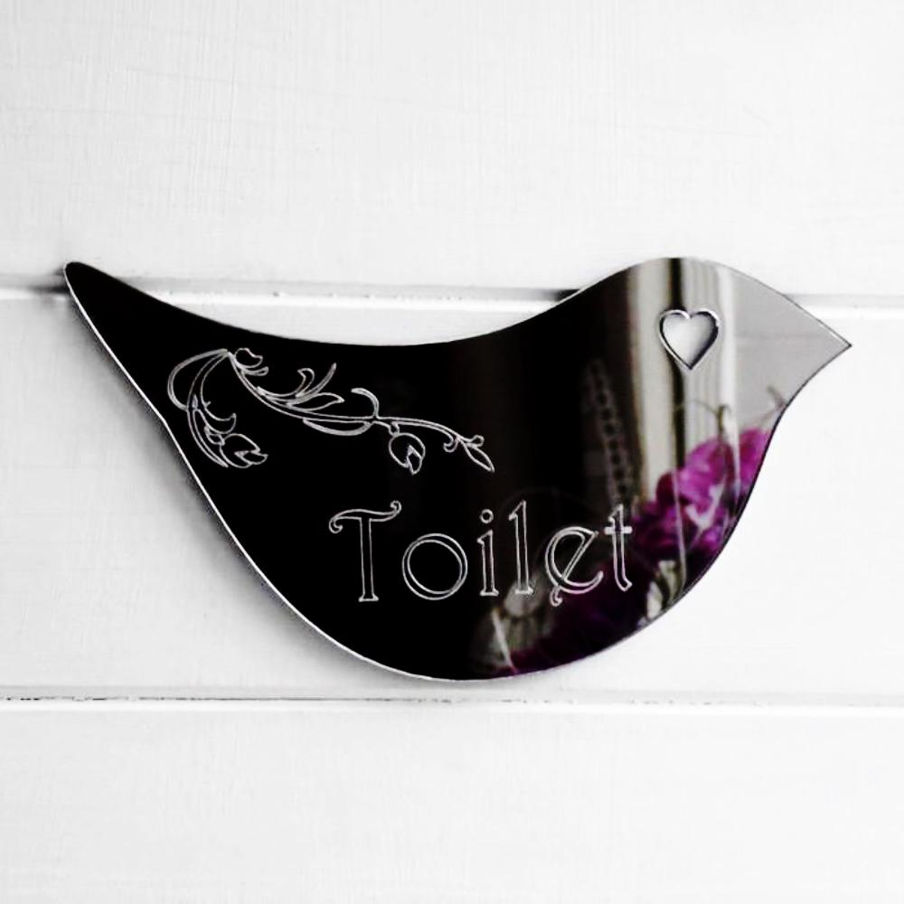 Floral Dove Acrylic Mirror Door or Wall Sign - TOILET - Suave Petal