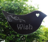 Floral Dove Acrylic Mirror Door or Wall Sign - WISH - Suave Petal