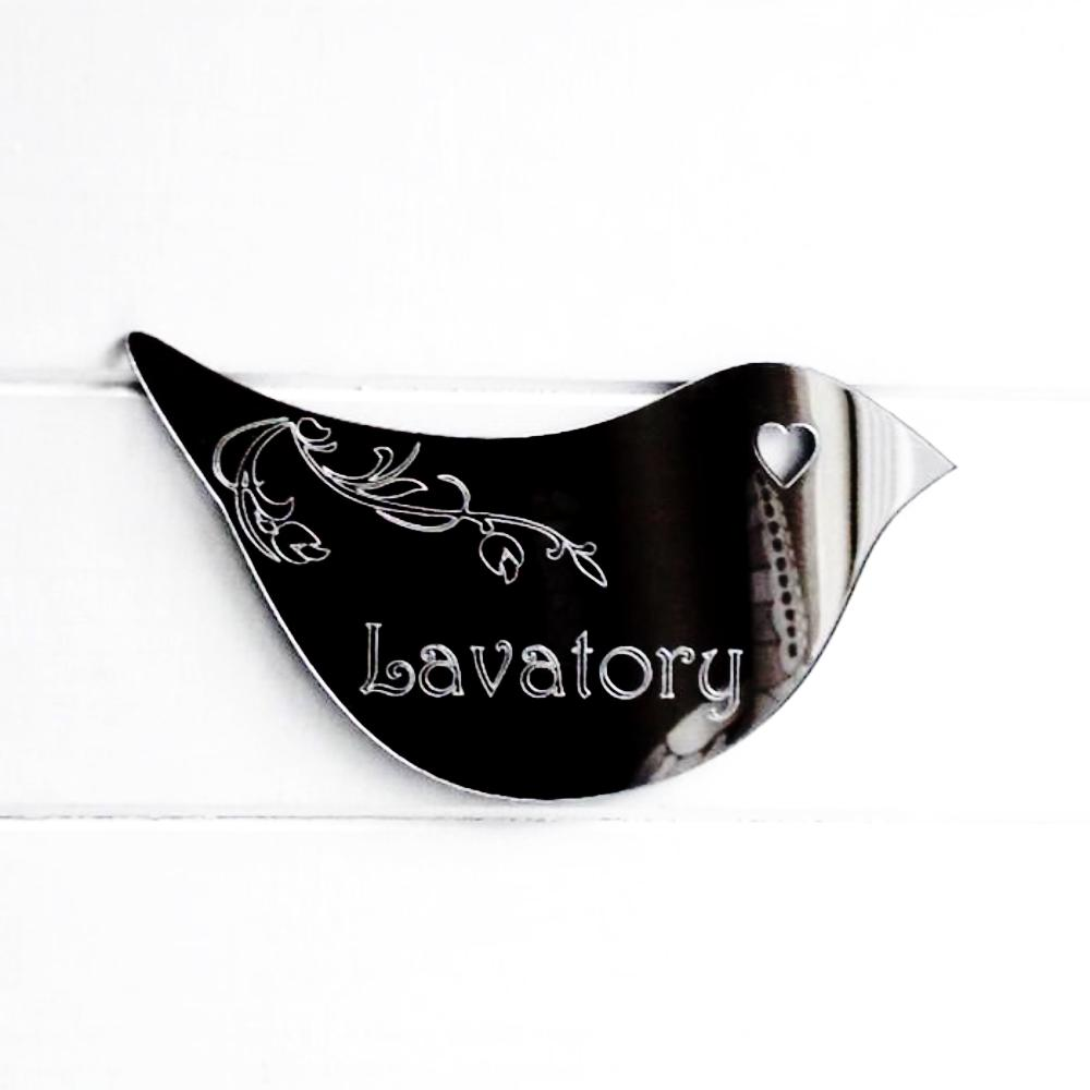 Floral Dove Acrylic Mirror Door or Wall Sign - LAVATORY - Suave Petal
