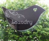 Floral Dove Acrylic Mirror Door or Wall Sign - LAUNDRY - Suave Petal
