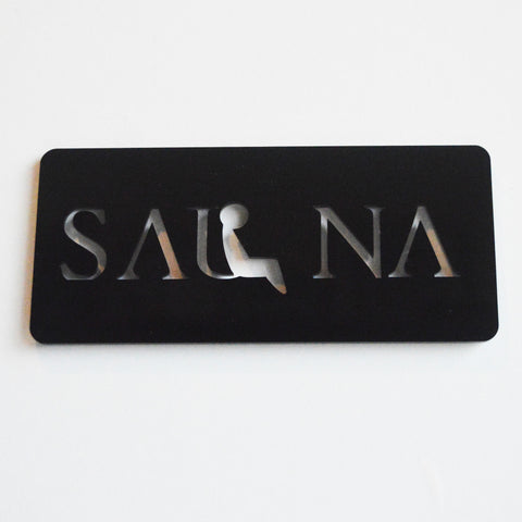 Sauna Acrylic Black Door Sign