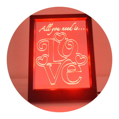 Square Love Text Quote Colour Changing RC LED Mirror Light Frame - Suave Petal
