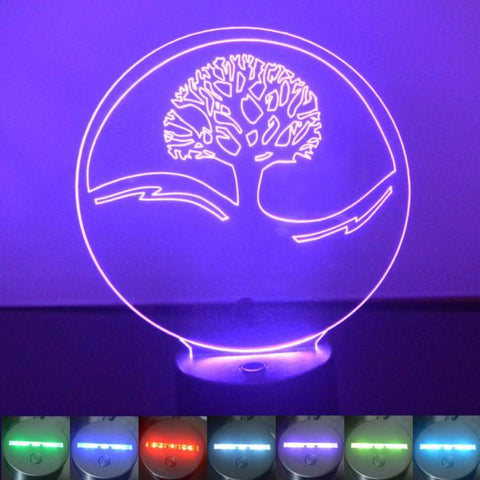 Circle Tree of Life Colour Changing LED Acrylic Light - Suave Petal