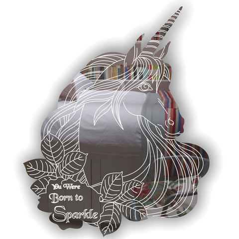 Unicorn Engraved Head -You Were Born to Sparkle Quote Acrylic Mirror