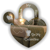 Be My Valentine Heart Padlock & Key Acrylic Mirror