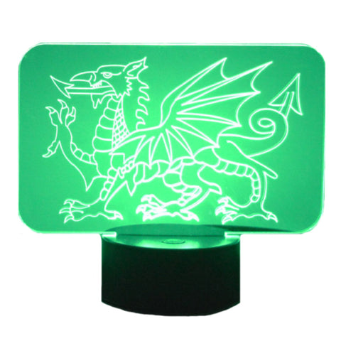 Welsh Dragon Colour Changing LED Acrylic Light - Suave Petal