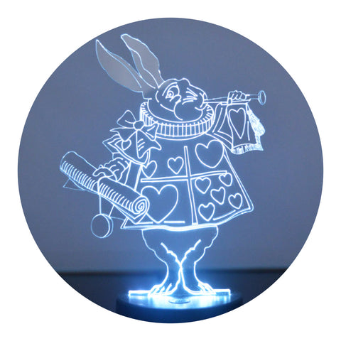 Alice in Wonderland White Rabbit Colour Changing LED Acrylic Light - Suave Petal