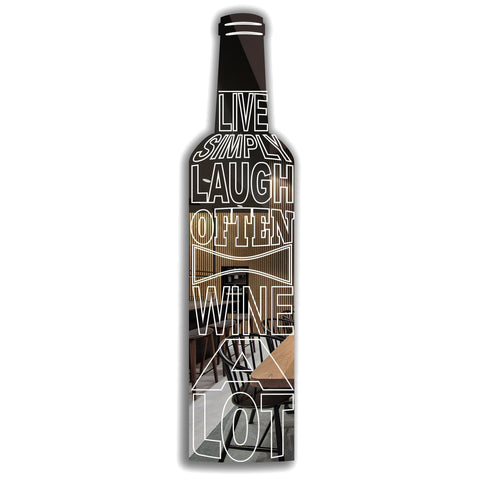 Laugh Often-Wine A Lot Quote Wine Bottle Acrylic Mirror