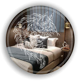 Stencil Wolf Head Engraved on Circle Acrylic Mirror